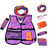 Kids Tactical Vest Kit for Nerf Guns Tactical Jacket Kit for N-Strike Elite Series with 50 Refill Darts Bullets, Reload Clips, Wrist Band, Protective Glasses and Face Tube Mask for Girls Boys