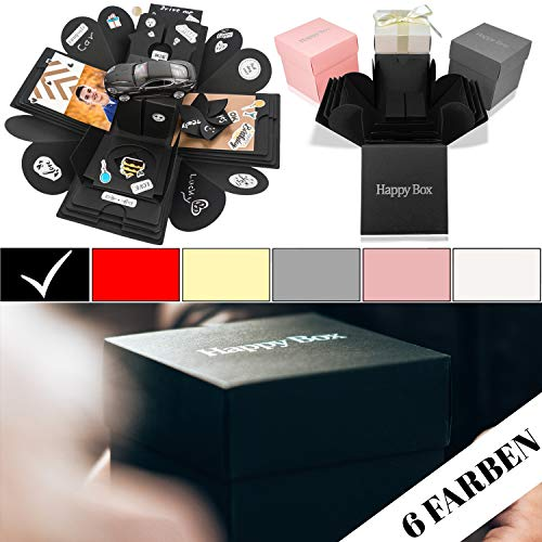 Happy Box PREMIUM SET DIY Überraschungsbox in 7 Farben   Explosionsbox, Scrapbook, faltbare Fotobox, Foto-Album für Muttertag,Jahrestag,Geburtstag,Hochzeit,Jubiläum,Valentinstag Geschenk (Schwarz)