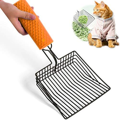 NANAOUS Spray grande de metal de filtro instantáneo para gatos Litter Scoop Cat Suministros de limpieza para mascotas, cuchara de arena antiadherente para gatos con mango de espuma