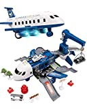 UNIH Airplane Toy, Police Toy Plane, Toy Airplanes for Boys with Sound and Colorful Lights, Transport Cargo Airplane with 4 Mini Toy Vehicles, Airplane Toys for 3 4 5 6 Year Old