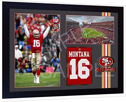 SGH SERVICES Joe Montana Joe Cool SF 49ers NFL Autogramm, vorgedrucktes Poster, American Football gerahmt, 2