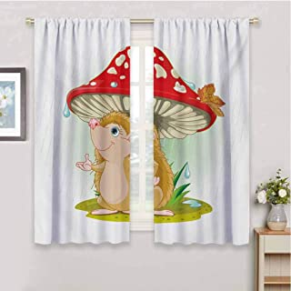 HoBeauty home Hedgehogwindow Curtain 2 panelCute Hedgehog Sheltering from The Rain Under an Oversized Mushroom Vivid Colorscurtain Living roomMulticolor72 x 72 inch