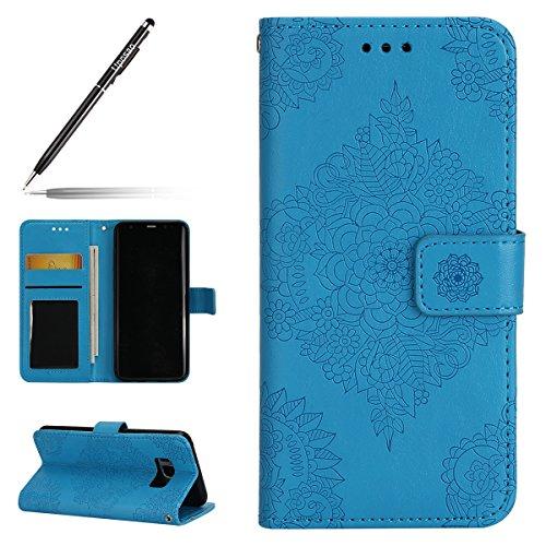Uposao Kompatibel mit Handyhülle Galaxy S8 Plus Leder Tasche Handytasche Retro Prägung Mandala Blumen Muster Lederhülle Flip Wallet Case Schutzhülle Ständer Klapptasche,Blau