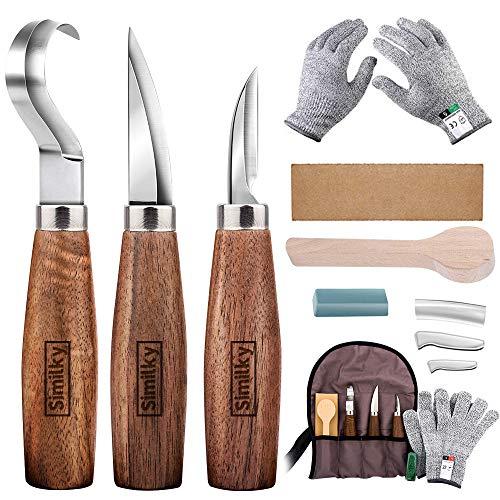 Holz-Schnitzwerkzeug Set, SIMILKY 5 teiliges Holz-SchnitHolzschnitzwerkzeugset, SIMILKY Hakenmesser + Holzmesser + Masermesser + Polierwachs + Leder schärfen + Holzlöffel + Segeltuchtasche (12 Stück)