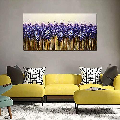HUAYOUZXM paars 3D bloemendoek, het handgeschilderde olieverfschilderij Abstracte familieversiering schilderen No Frame 90 x 180 cm.