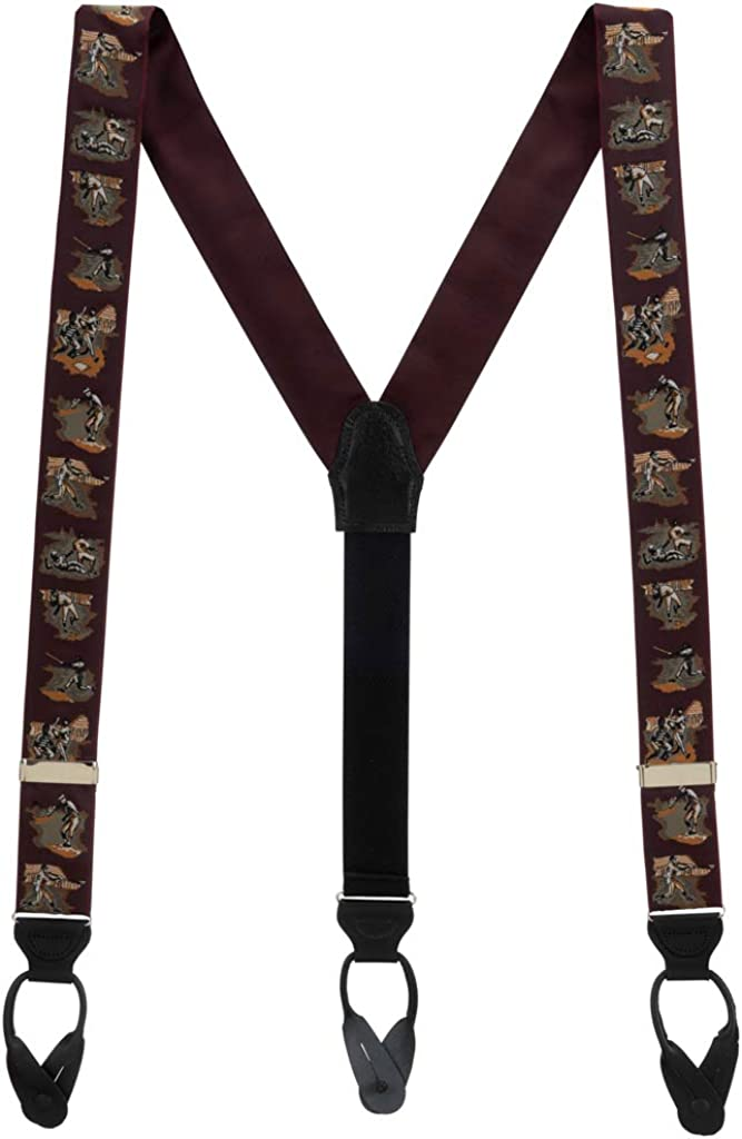 Men's Vintage Ribbon America's Pastime Suspenders - BUTTON