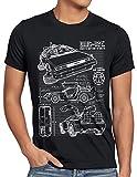 style3 DMC-12 Cianotipo Camiseta para Hombre T-Shirt Fotocalco Azul, Talla:L;Color:Nero