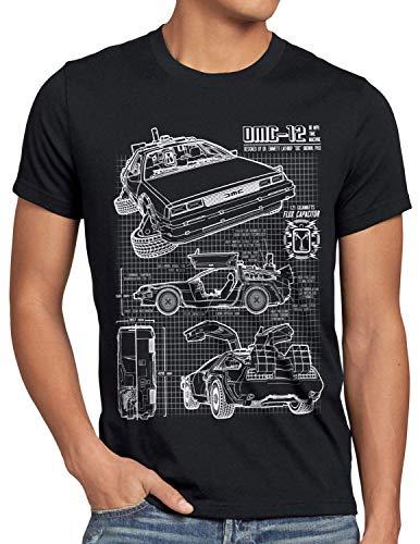 style3 DMC-12 Cianotipo Camiseta para Hombre T-Shirt Fotocalco Azul, Talla:M;Color:Nero