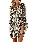 Yoins - Vestido de mujer para invierno, cuello redondo, vestido de novia, manga larga, minivestido, camiseta larga, túnica suelta con lazo en las mangas Leopardo caqui. XL