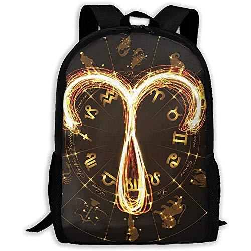 Zufälliger Backpack,Multifunktionsrucksack,Tagesrucksack,Notizbuch Reiseeucksack,Einstellbare Schulbuchtaschen Mit Widder-Logo,Lässiger Laptop-Rucksack,Student College-Tagesrucksack
