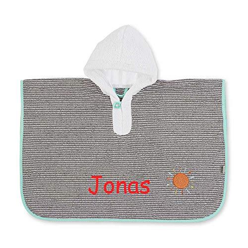 Sterntaler Poncho Waldis mit Namen bestickt 70x50 cm Handtuch Baby Geschenk zur Geburt Badehandtuch