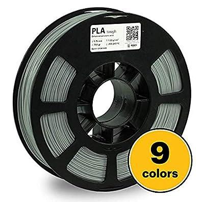 KODAK Tough PLA Pro 3D Printer Filament Gray Color, 0.03 mm, 750g (1.6lbs) Spool 1.75 mm. Lowest Moisture Premium Filament in Vacuum Sealed Aluminum Ziploc. Fit Most FDM Printers