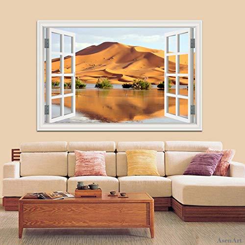 Qliyt 60 * 90 Cm 3D Ventana De Visualización De La Pared Calcomanías Vinilo Paisaje Del Desierto Etiqueta De La Pared De Gran Tamaño Extraíble 3D Wallpaper Home DecorMural Art