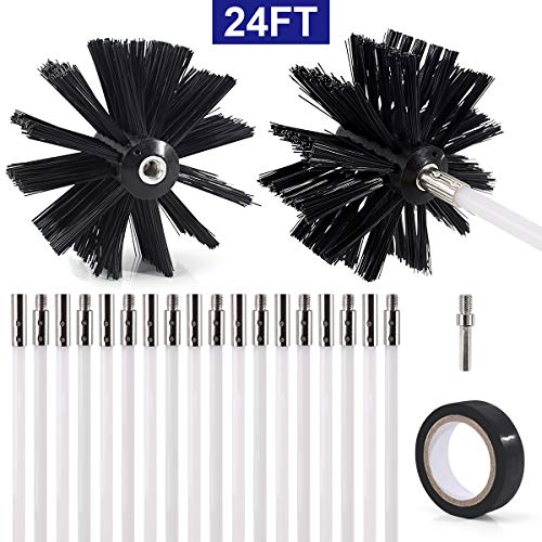 "Vent Exhaust Flue Cleaning Kit Pellet Fireplace  1-3/"" Brush 24/' 6-4/' Rods"