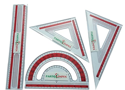 PARTH IMPEX Clear Plastic Math Geometry Tool Set (Pack of 4) Ruler Protractor Set Square Triangle