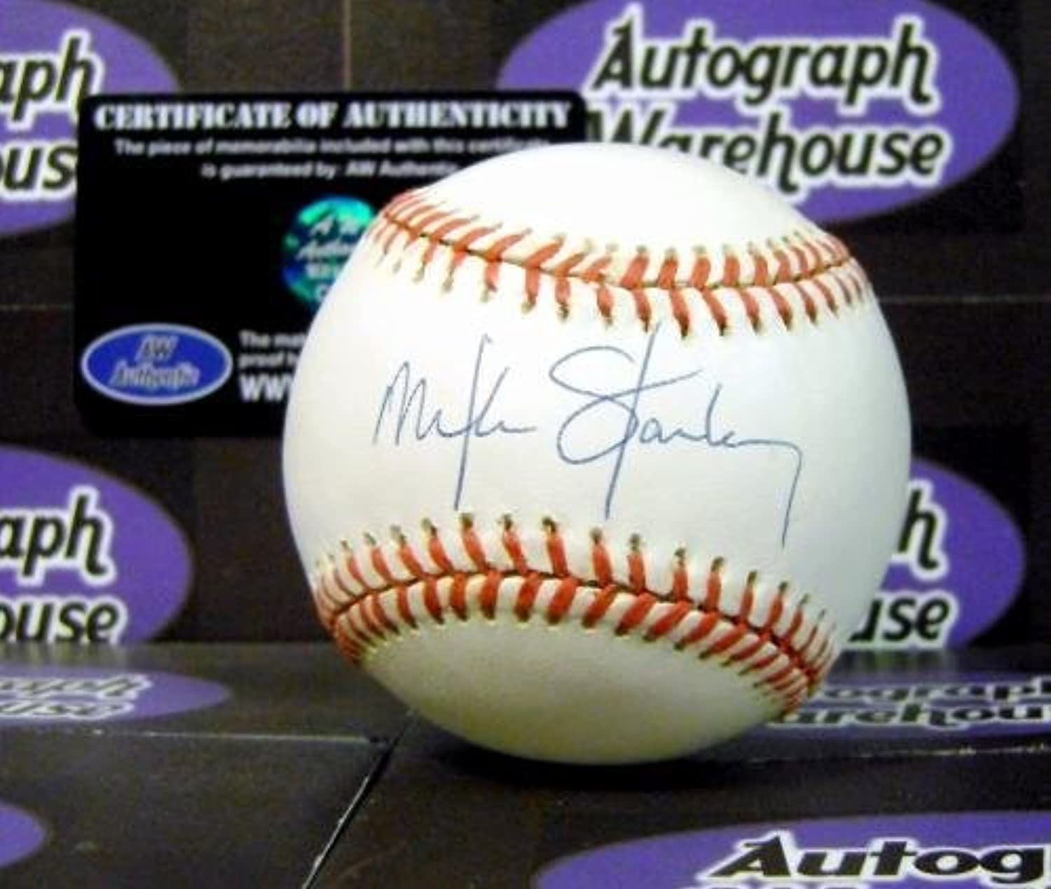 Mike Stanley Signed Ball  Slight yellowed spotty)  Autographed Baseballs