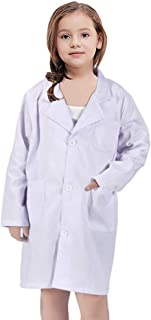 White Kid Lab Coat for Scientist Doctors Role Play Costume Set for Career Day