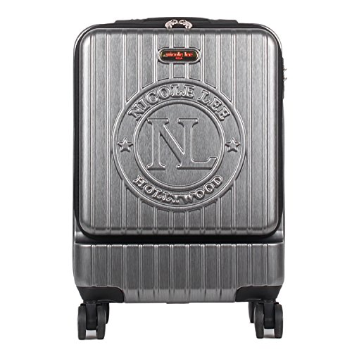 Nicole Lee Women's Carry On [Grey] Hard Shell Travel Luggage, Laptop Compartment Rolling Wheels, Gun Metal, One Size