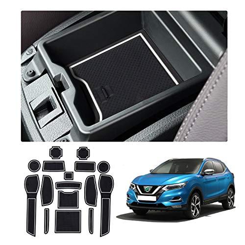 YEE PIN Scanalatura della Porta Tappetino Antiscivolo Compatibile con Nissan Qashqai J11 SUV 2019+ Accessori Interni Automobilistici Scatola di Immagazzinaggio Mat Gomma Morbida