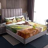 Juego de ropa de cama de ciervo, juego de sábanas y fundas de almohada, diseño de animales, decoración decorativa para el hogar, dormitorio, suave, cómodo, gris y marrón