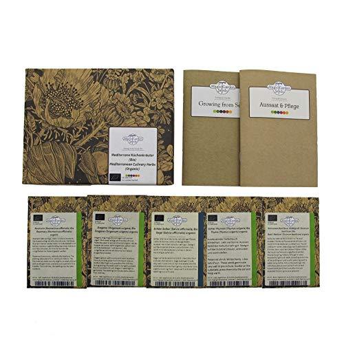 Magic Garden Seeds Herbes aromatiques méditerranéennes (Bio) - Coffret Cadeau de semences avec 5 Herbes aromatiques du Soleil
