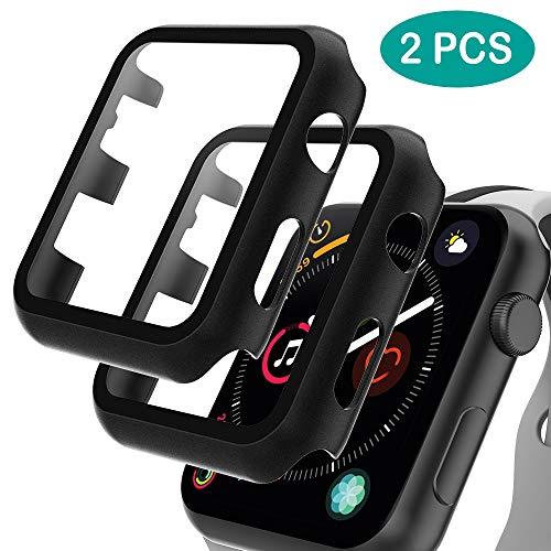GeeRic 2PCS Pellicola Vetro Temperato Compatibile per Apple Watch 42mm Serie 3/2/1 HD Cover Resistente Urti Pellicola Copertura Completa Custodia Compatibile per Apple Watch 42mm Serie 1/2/3 Nero