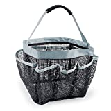 DII CAMZ33601 Mesh Portable Quick Dry Lightweight, 7 Compertment Bathroom, Shower Caddy Tote for Shampoo, Conditioner, Soap, Toiletries Perfect for Dorm, Travel, Gym, Spa, Black