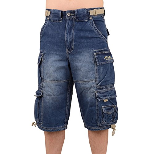 Jet Lag Männer Jeans Short 007 B Cargoshort blau - XL