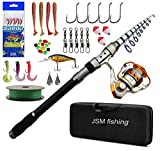 JSHANMEI Fishing Rod and Reel Combo - Telescopic Fishing Pole Spinning Reels Fishing Gear Carrier Bag Bass Fishing Rods Combos for Saltwater Freshwater and Travel Fishing 2.1M Kit