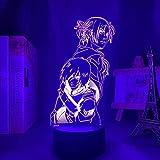 GEZHF 3D ilusión lámpara LED noche luz Ataque a los titanes Annie Leonhart para niños habitación regalo coration anime l ataque en Titan