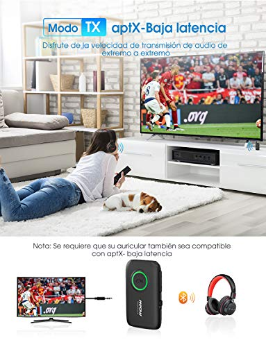 Mpow Transmisor y Receptor 2 en 1, Adaptador Bluetooth 5.0 con Baja Latencia AptX, Transmisor Bluetooth de Música aptX HD para TV, Receptor Bluetooth para Estéreo de Automóvil, Hogar