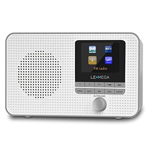 Radio de Internet portátil LEMEGA IR1,Radio Digital Dab/Dab +/FM,WiFi,Altavoz Bluetooth,alarmas duales,Temporizador de Cocina/Reposo,Salida de Auriculares,batería y alimentación por USB - Gris