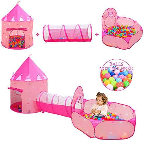 3pc Kids Play Tent for Girls with Ball Pit Crawl Tunnel Princess Tents for Toddlers Baby Space product image