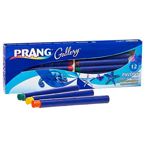 Prang Payons Watercolor Crayons, Round Sticks, 3.5 x 0.313 Inches, 1 Box of 12 Crayons with Brush, 12 Multicoloured (34312)