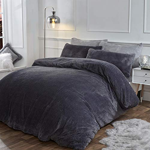 Brentfords Waffle Fleece Soft Cosy Duvet Cover with Pillow Case Ultra Warm Winter Textured Thermal Bedding Set, Charcoal Grey, Single