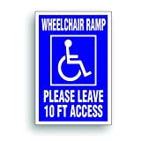 Large Wheelchair Ramp Sticker Decal (Removable & Extra Large; 12' Tall x 8' Wide) for Handicapped or Disabled Transport Vehicles with a Disability Lift