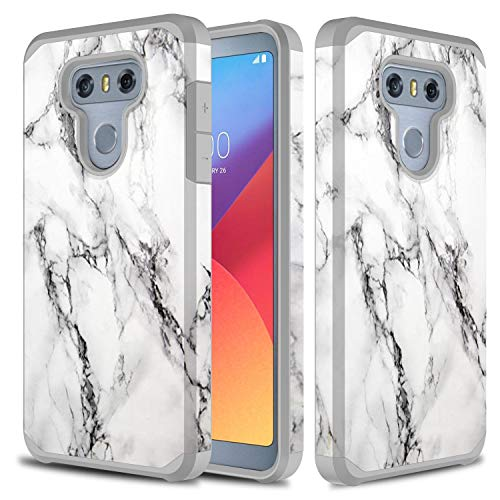 LG G6 Case/LG G6 Plus Case, TownShop Heavy Duty Hybrid Shock Proof Protective Rugged Bumper Case for LG G6 / LG G6 Plus - Marble