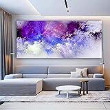 LYFrend Púrpura Nube Pintura Tamaño más Grande Arte Abstracto de la Pared Póster Pintura Imagen Arte de la Pared para la decoración Moderna del hogar 50x120cm / 19.7'x 47.2' Sin Marco