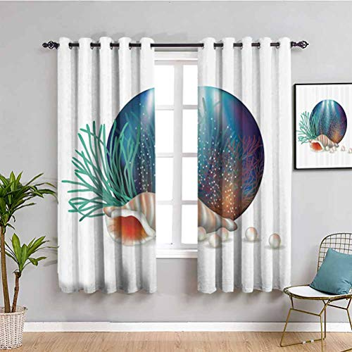 Pearls Decoration Extra Long Curtain Underwater World with Shelled Mollusk Corals Pearls Crystalline Form Sea Nautical Theme Cafe Curtain W84 x L84 Inch Multi