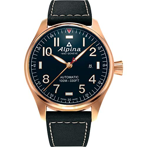 Alpina Reloj deportivo suizo automático para hombre, acero inoxidable, chapado en oro rosa de 18 quilates, con correa de piel, negro, 22 (modelo: AL-525NN4S4)