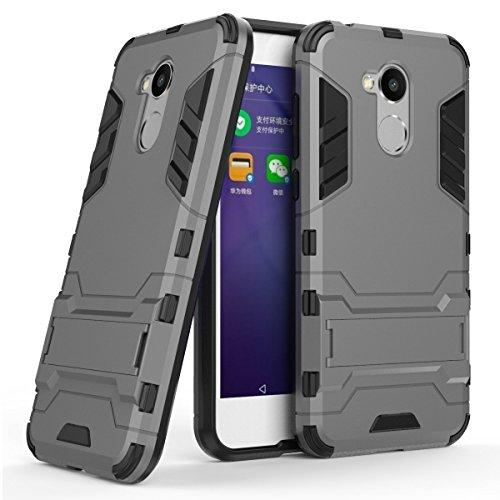 MaiJin Hülle für Huawei Honor 6A (5 Zoll) 2 in 1 Hybrid Dual Layer Shell Armor Schutzhülle mit Standfunktion Case (Grau)
