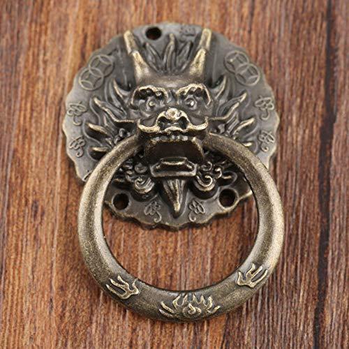 Deurknoppen 2 Stks Vintage Draak Hoofd Meubilair Deurkruk Lade Kast Dressoir Knopen Ring Handvat Meubilair Hareware 32 * 47Mm