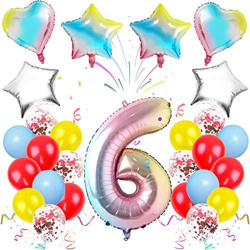 TaimeiMao Luftballon 6. Geburtstag Rosa,Geburtstagsdeko 6 Jahr Mädchen, Happy Birthday Dekoration Zahl,Zahlenballon Deko zum Geburtstag,Nummerndekoration,Riesen Folienballon,Happy Birthday Dekoration