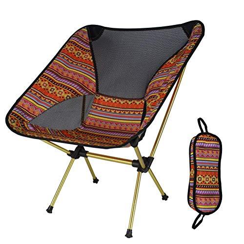 Unknow Chaise de Lune Pliante extérieure, chaises de Camping Portables, pêche à la Plage, Tabouret de Loisirs en Aluminium ultraléger, Sac de Transport, Support de Chaise Soucoupe 250 LB