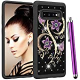 CAIYUNL Case for Galaxy S10 Plus Dual Layer Shockproof Bling Studded Rhinestone Glitter Women Girls Protective Hybrid Heavy Duty Hard Phone Cover for Samsung Galaxy S10+ [Not S10]-Black Purple Flower