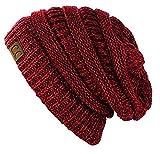 C.C Trendy Warm Chunky Soft Stretch Cable Knit Beanie Skully, 2 Tone Burgundy