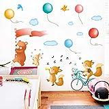 Animales de dibujos animados Desfile por la calle Pegatinas de pared Cantando la canción Etiqueta de música Extraíble Pvc impermeable para la habitación de los niños