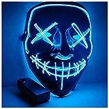 Kaliwa Maschera LED Halloween Maschera - Divertente Maschere con 3 modalità Flash Illuminano al Buio per Halloween Carnevale Festa Costume Cosplay Decorazione (Blu)