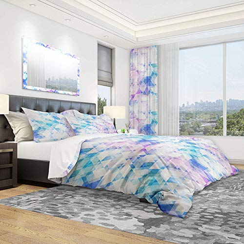 Bedding Duvet Cover Set - Sky Blue Triangle Texture with Grunge Effect & Contemporary Design - Brushed Microfibre Duvet Cover with Pillowcases-Super king(260 * 220cm)