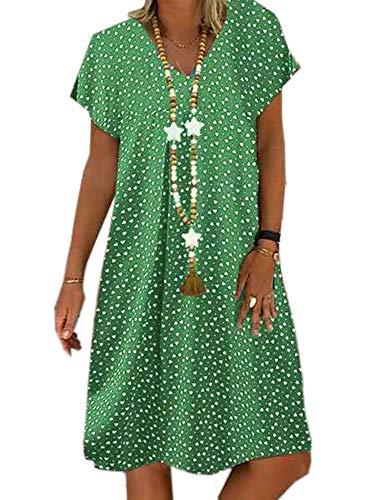 XINYA BAO Vestido de playa para mujer, tallas grandes, vestido de verano, manga corta, cuello en V, largo hasta la rodilla, estampado de puntos, verde, XL